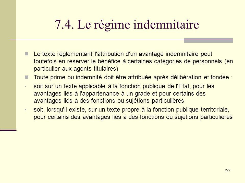 7.4. Le régime indemnitaire
