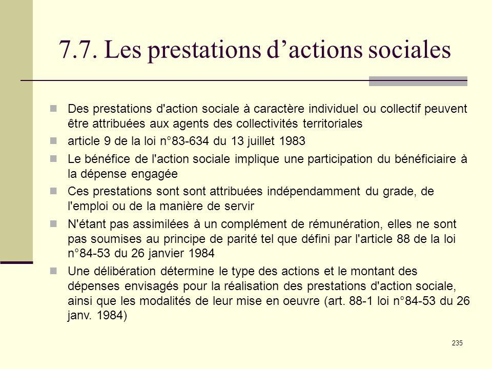7.7. Les prestations d'actions sociales