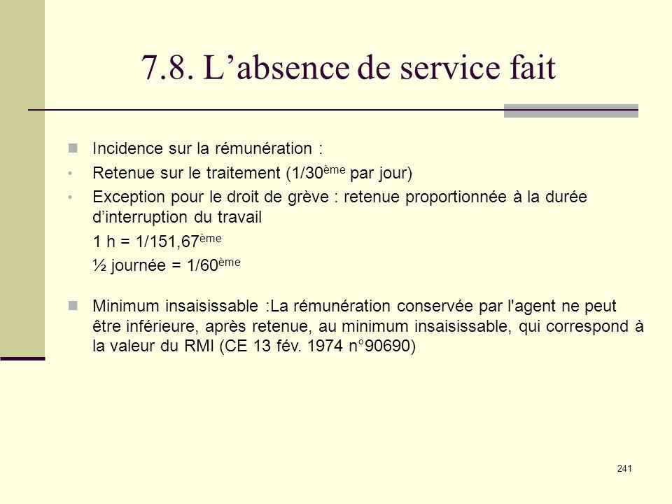 7.8. L'absence de service fait