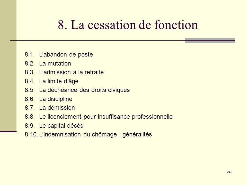 8. La cessation de fonction