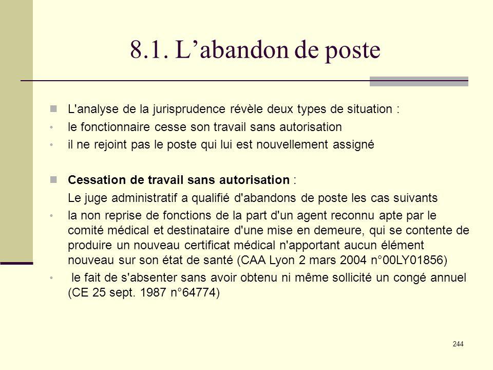 8.1. L'abandon de poste L analyse de la jurisprudence révèle deux types de situation : le fonctionnaire cesse son travail sans autorisation.