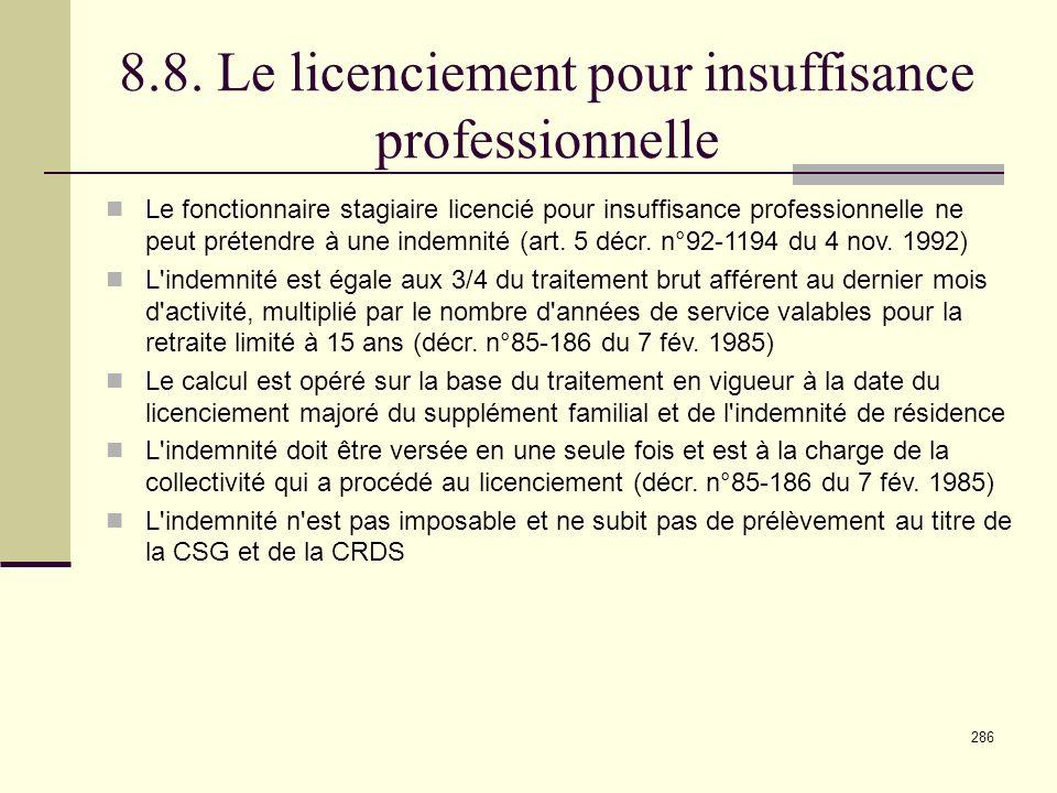8.8. Le licenciement pour insuffisance professionnelle