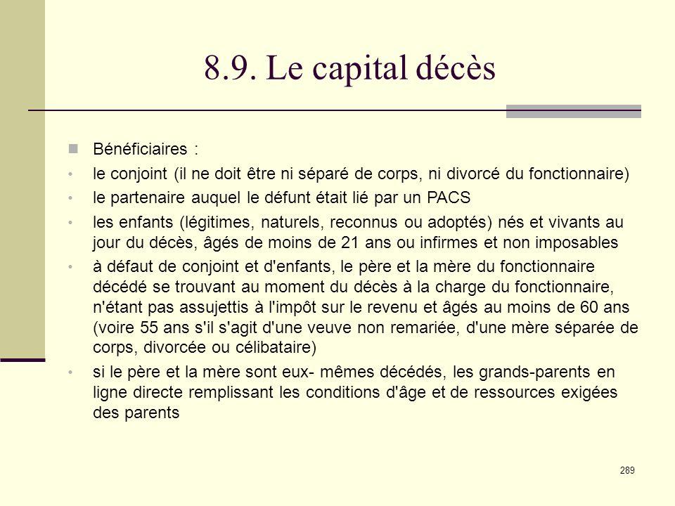 8.9. Le capital décès Bénéficiaires :