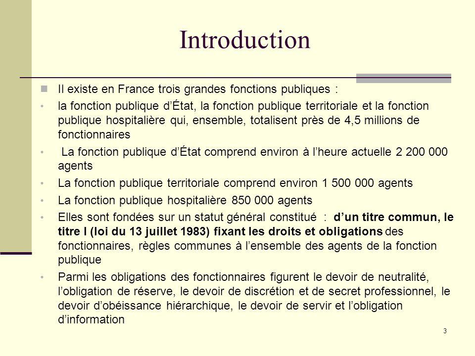 Introduction Il existe en France trois grandes fonctions publiques :