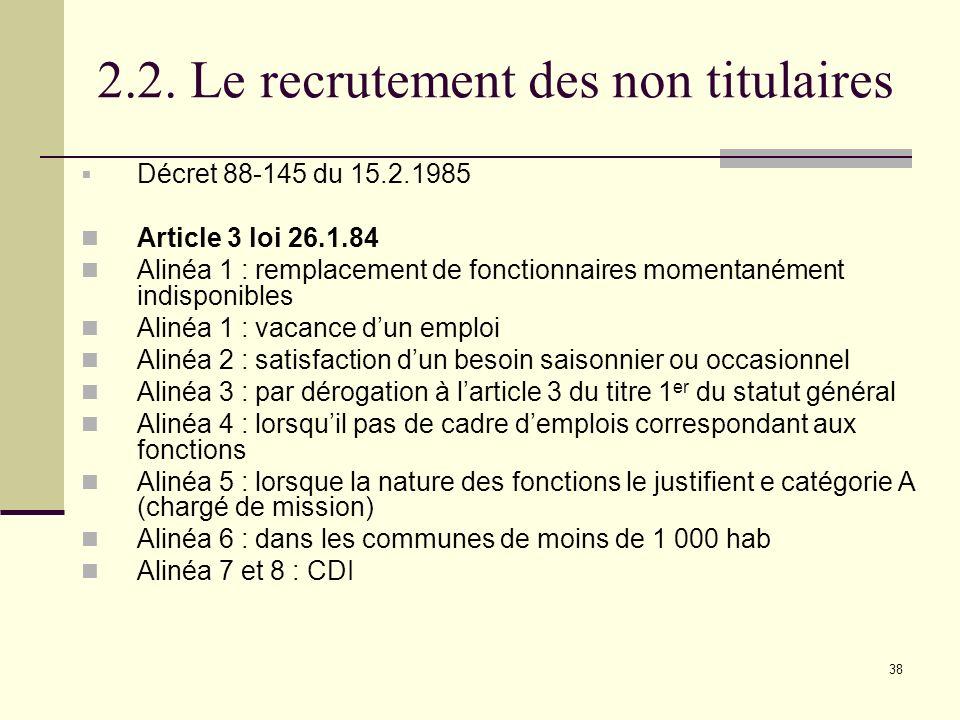 2.2. Le recrutement des non titulaires