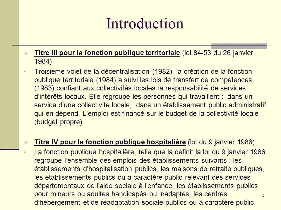 Introduction Titre III pour la fonction publique territoriale (loi 84-53 du 26 janvier 1984)