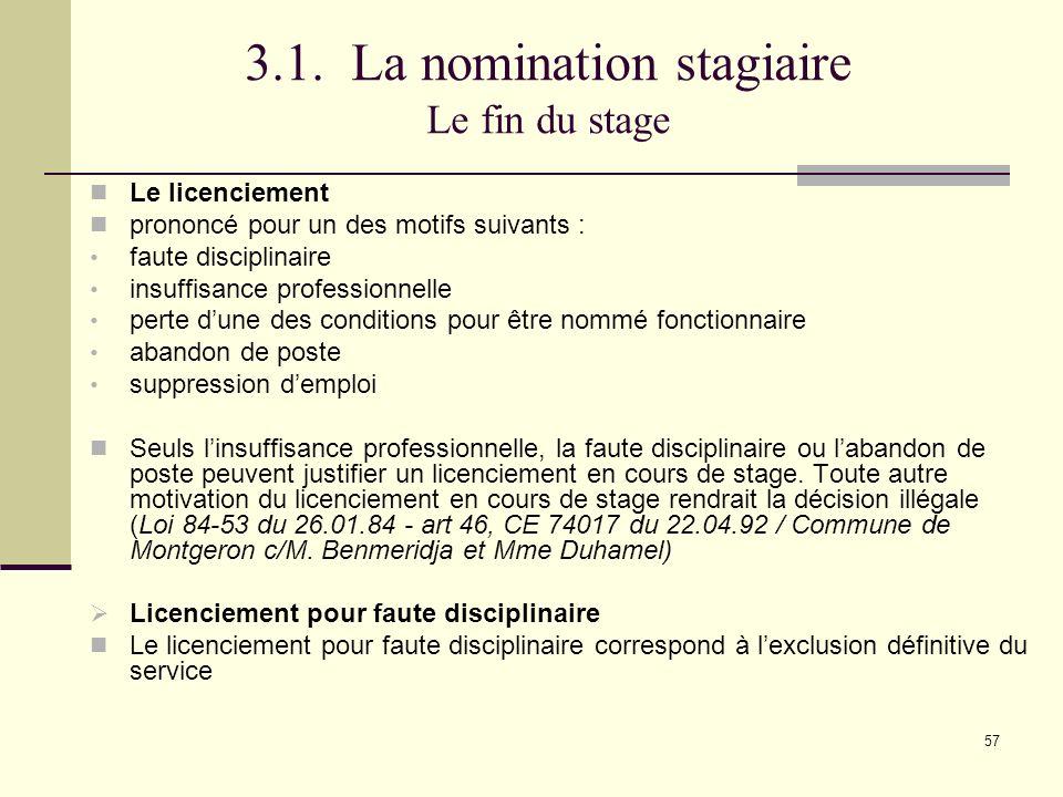 3.1. La nomination stagiaire Le fin du stage