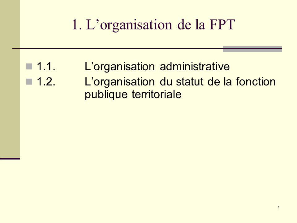 1. L'organisation de la FPT