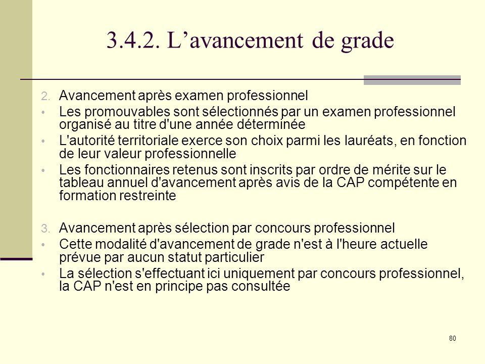 3.4.2. L'avancement de grade Avancement après examen professionnel