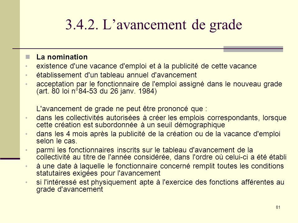 3.4.2. L'avancement de grade La nomination