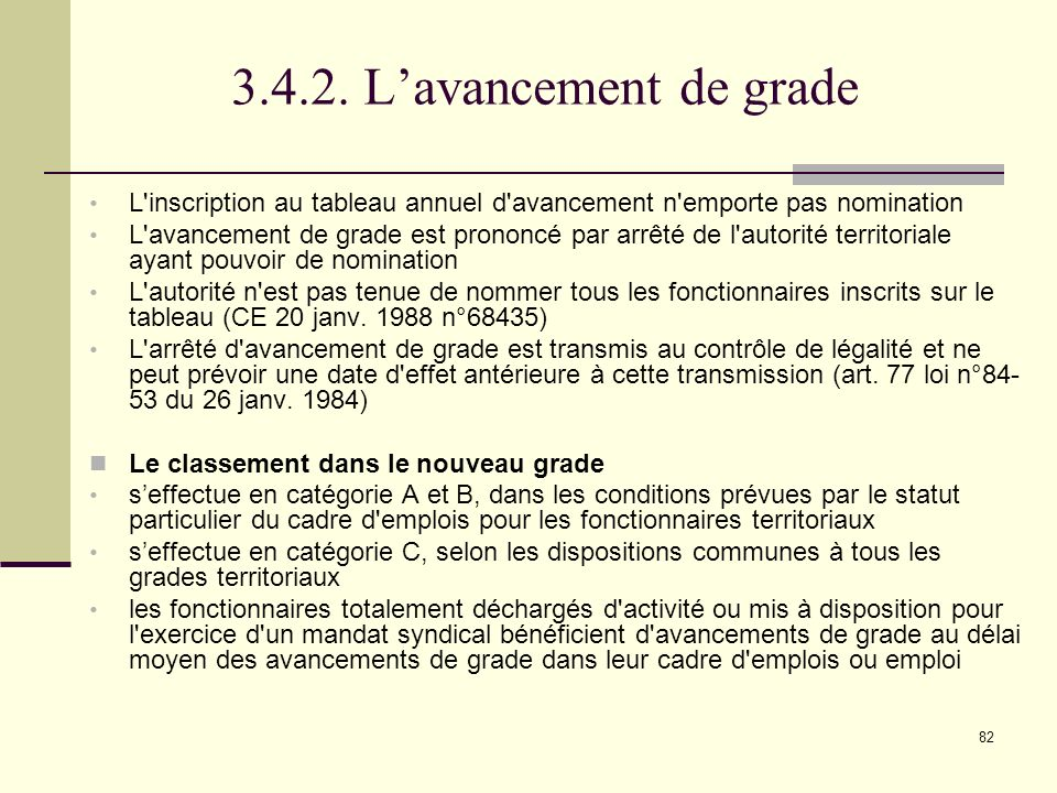 3.4.2. L'avancement de grade L inscription au tableau annuel d avancement n emporte pas nomination.