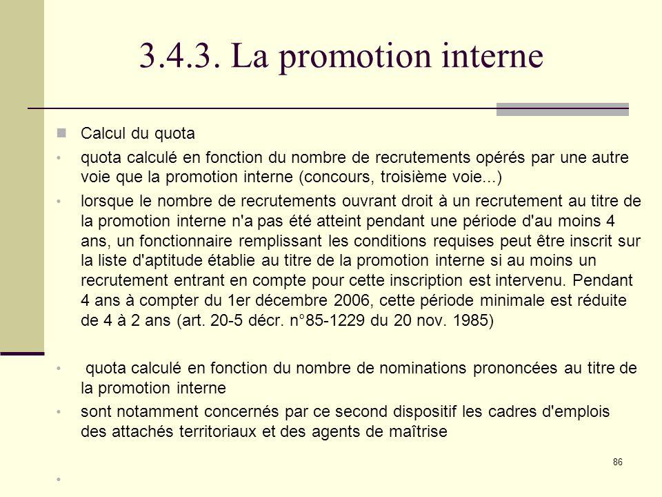 3.4.3. La promotion interne Calcul du quota