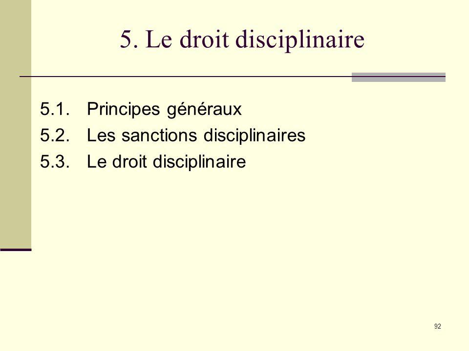 5. Le droit disciplinaire