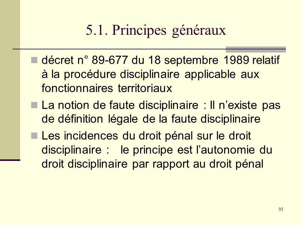 5.1. Principes généraux décret n° 89-677 du 18 septembre 1989 relatif à la procédure disciplinaire applicable aux fonctionnaires territoriaux.