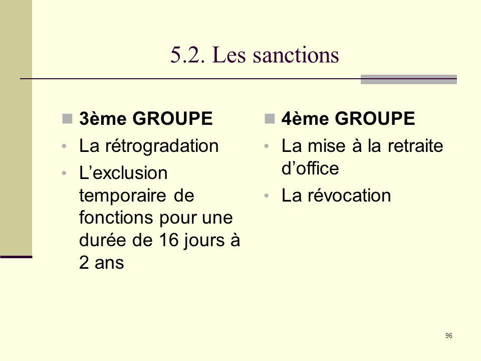 5.2. Les sanctions 3ème GROUPE La rétrogradation