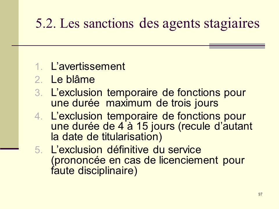 5.2. Les sanctions des agents stagiaires