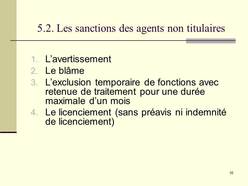 5.2. Les sanctions des agents non titulaires