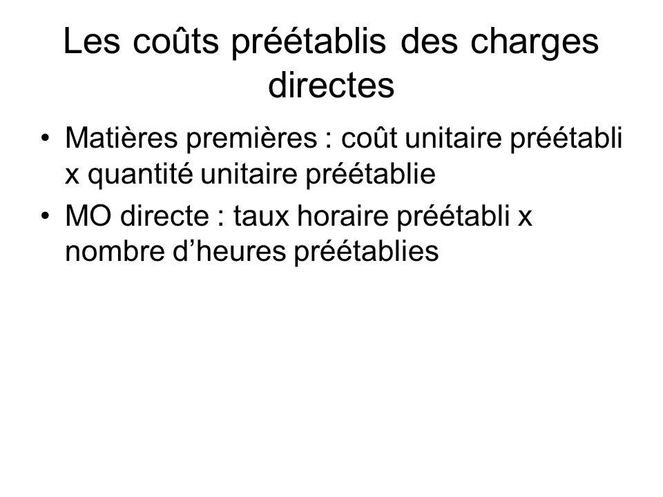 Les coûts préétablis des charges directes
