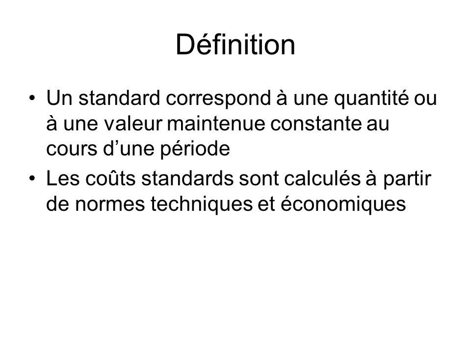 Définition Un standard correspond à une quantité ou à une valeur maintenue constante au cours d'une période.