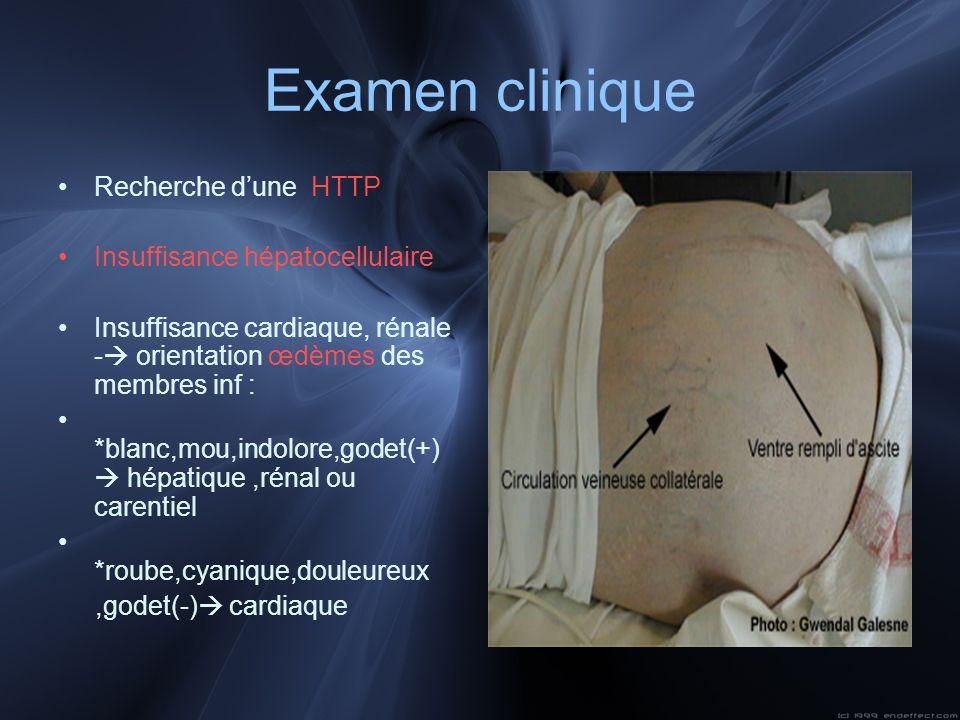 Examen clinique Recherche d'une HTTP Insuffisance hépatocellulaire