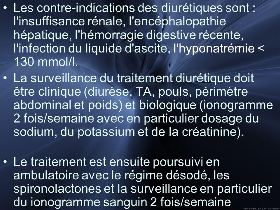 Les contre-indications des diurétiques sont : l insuffisance rénale, l encéphalopathie hépatique, l hémorragie digestive récente, l infection du liquide d ascite, l hyponatrémie < 130 mmol/l.