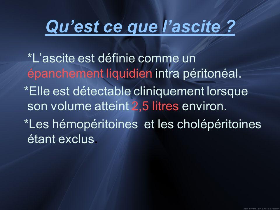 Qu'est ce que l'ascite *L'ascite est définie comme un épanchement liquidien intra péritonéal.
