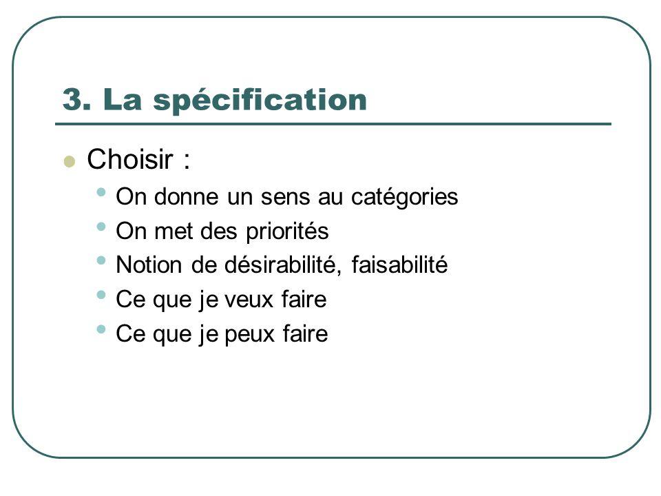 3. La spécification Choisir : On donne un sens au catégories