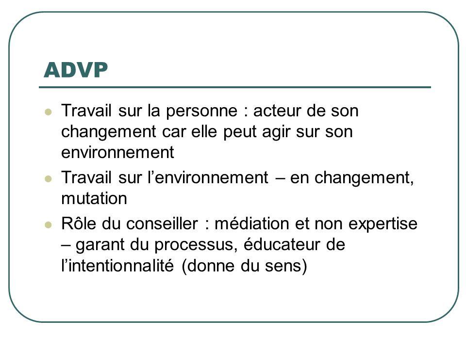 ADVP Travail sur la personne : acteur de son changement car elle peut agir sur son environnement.