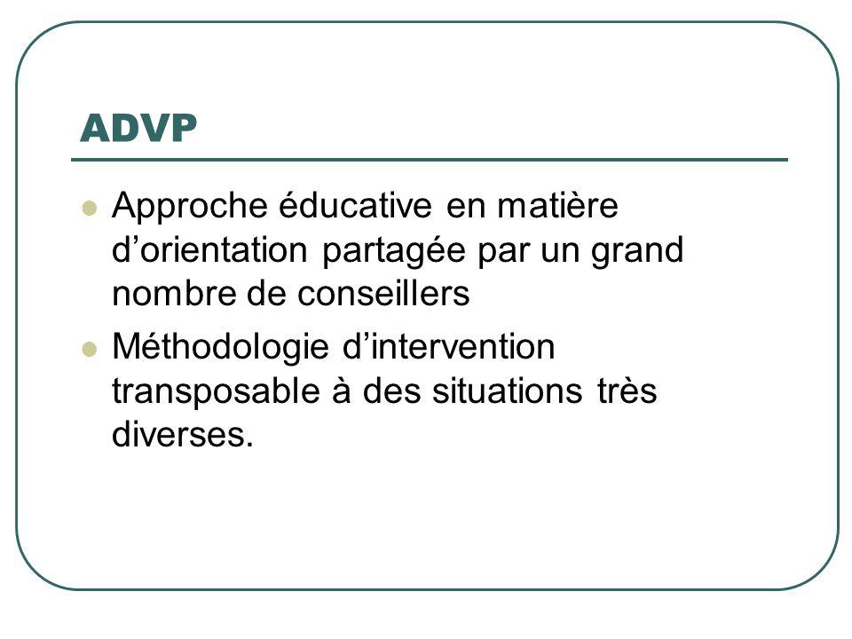 ADVP Approche éducative en matière d'orientation partagée par un grand nombre de conseillers.
