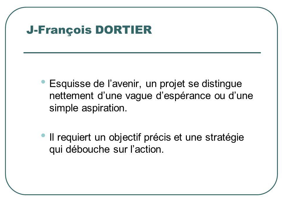 J-François DORTIER Esquisse de l'avenir, un projet se distingue nettement d'une vague d'espérance ou d'une simple aspiration.