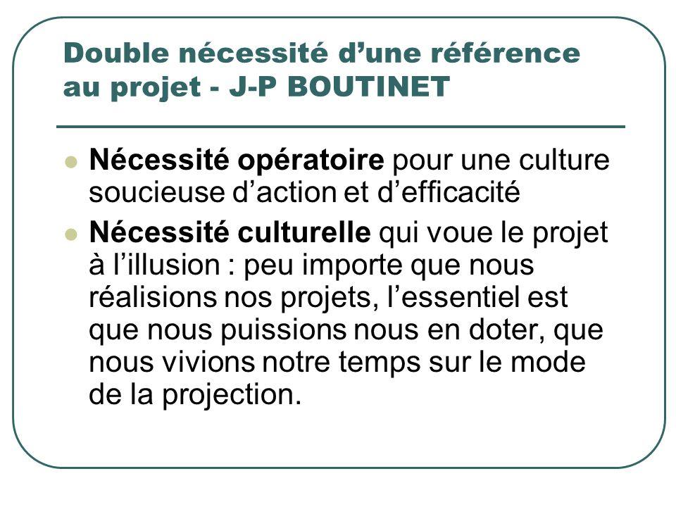 Double nécessité d'une référence au projet - J-P BOUTINET
