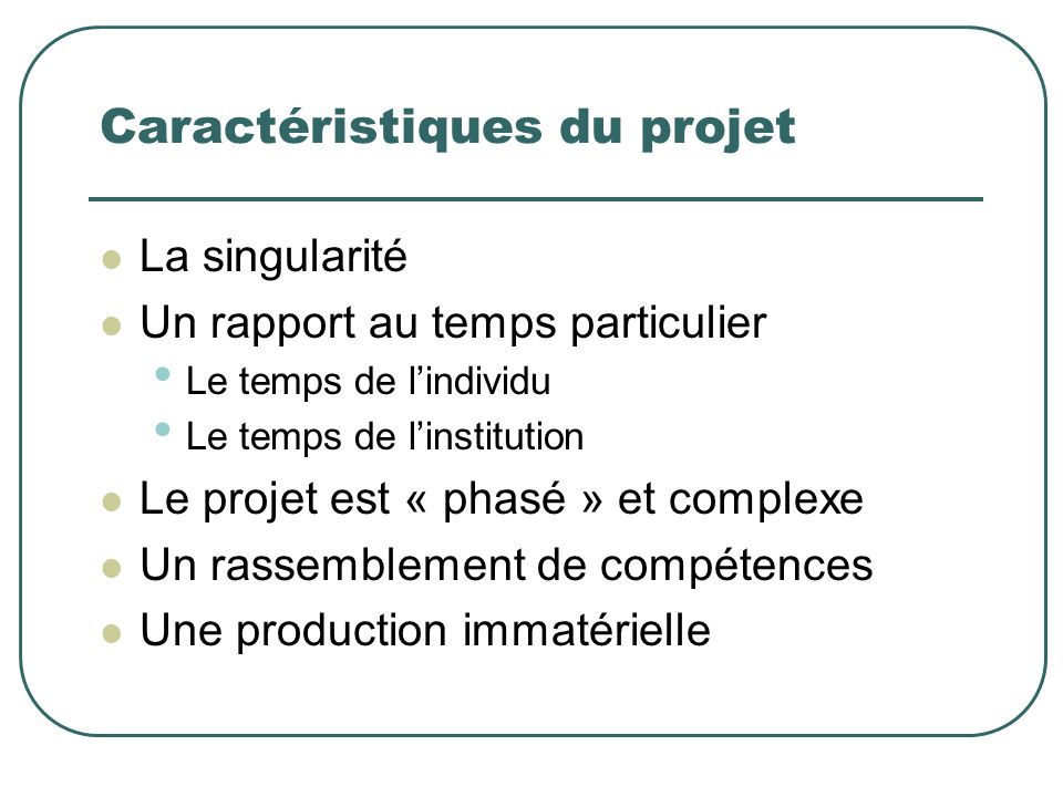 Caractéristiques du projet