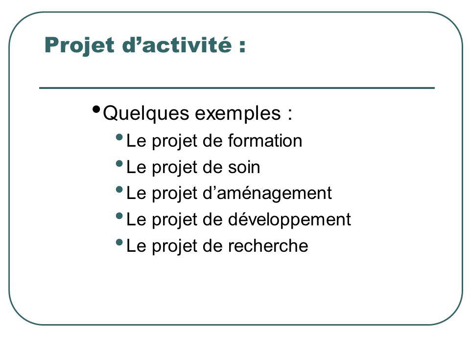 Projet d'activité : Quelques exemples : Le projet de formation