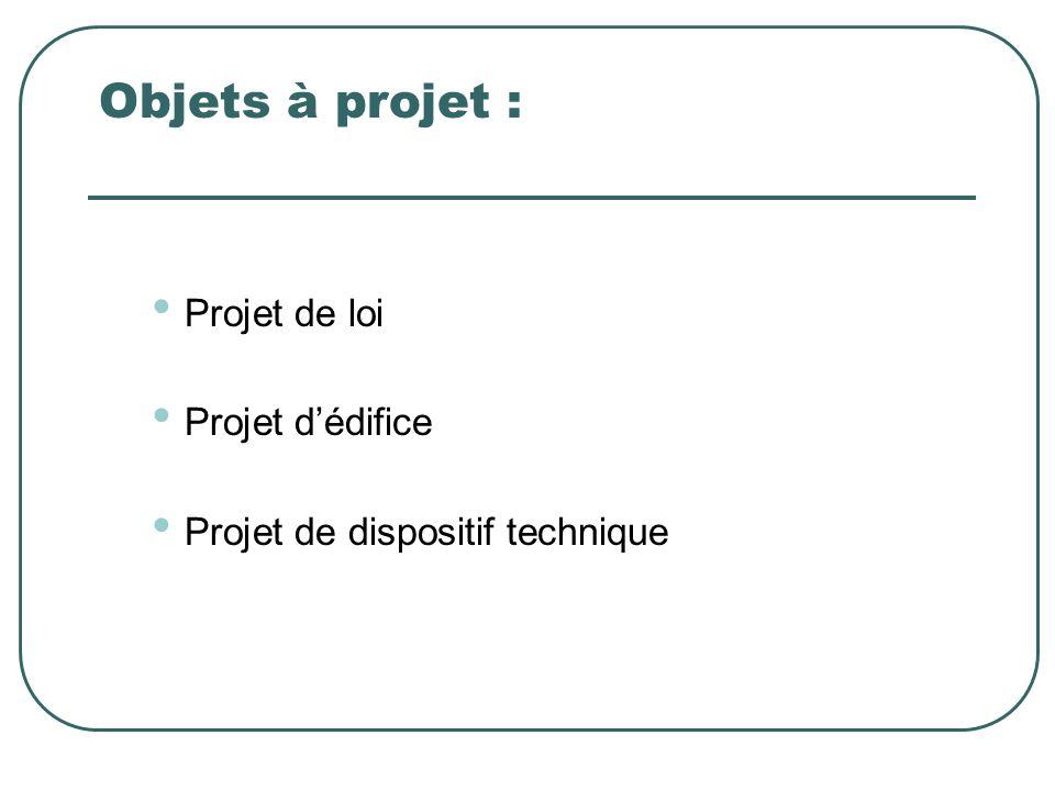 Objets à projet : Projet de loi Projet d'édifice