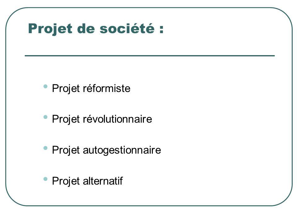Projet de société : Projet réformiste Projet révolutionnaire
