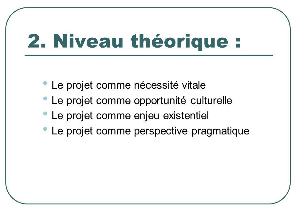 2. Niveau théorique : Le projet comme nécessité vitale