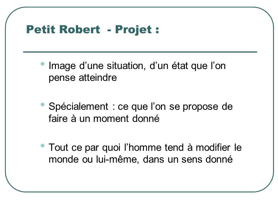 Petit Robert - Projet : Image d'une situation, d'un état que l'on pense atteindre. Spécialement : ce que l'on se propose de faire à un moment donné.