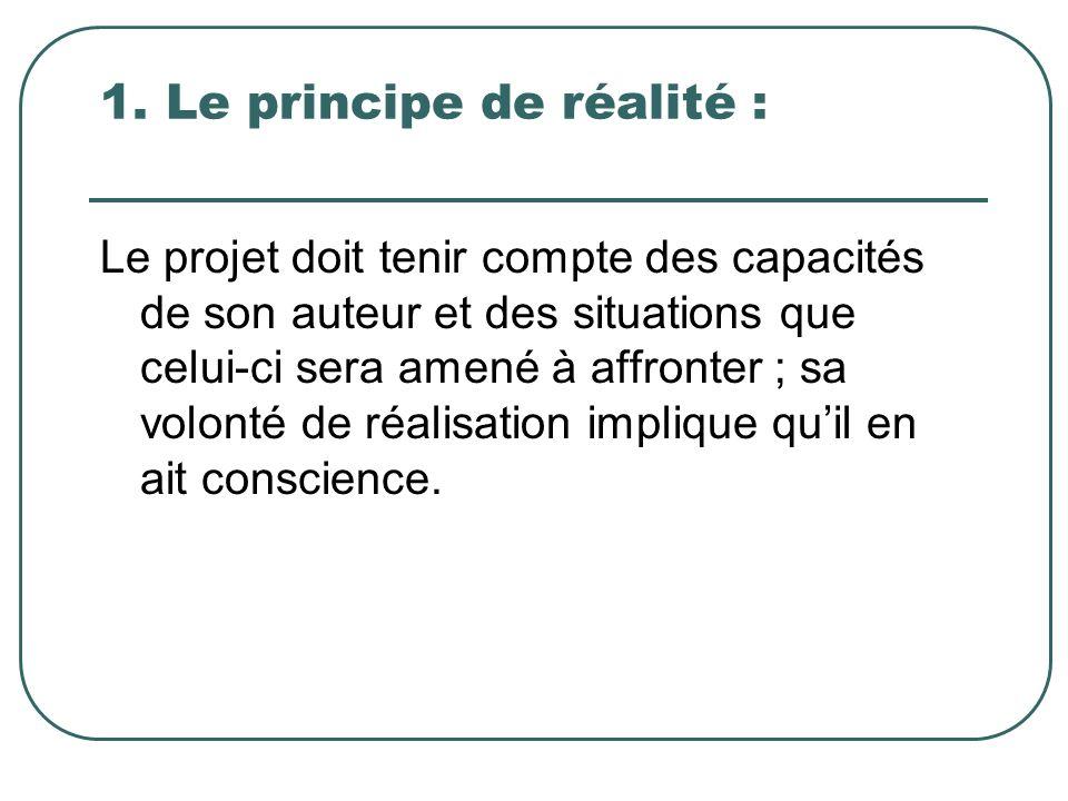 1. Le principe de réalité :