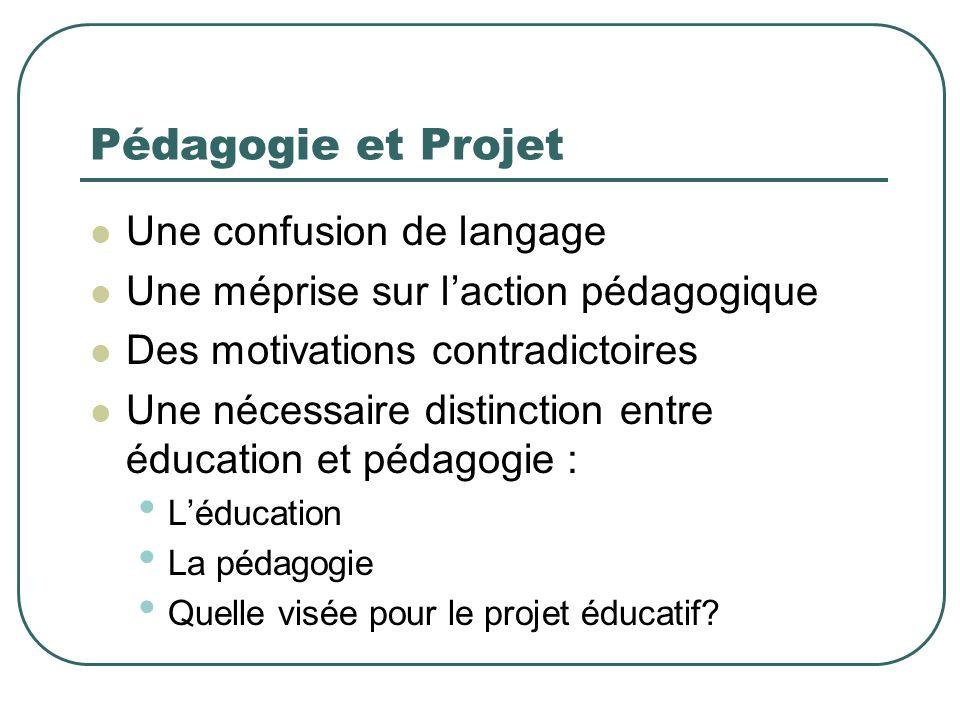 Pédagogie et Projet Une confusion de langage