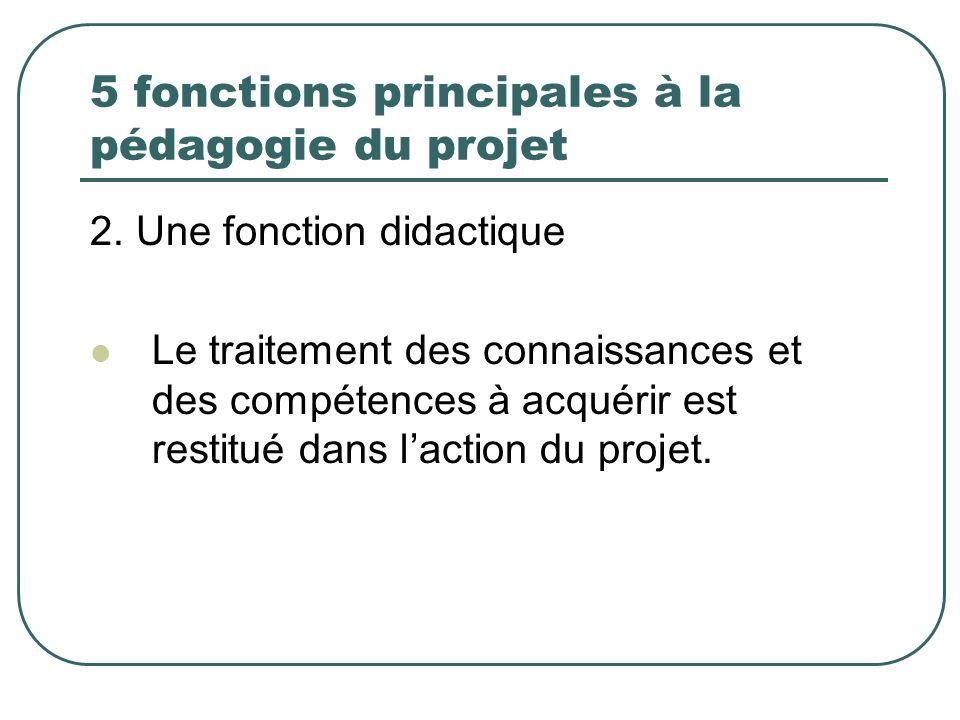 5 fonctions principales à la pédagogie du projet