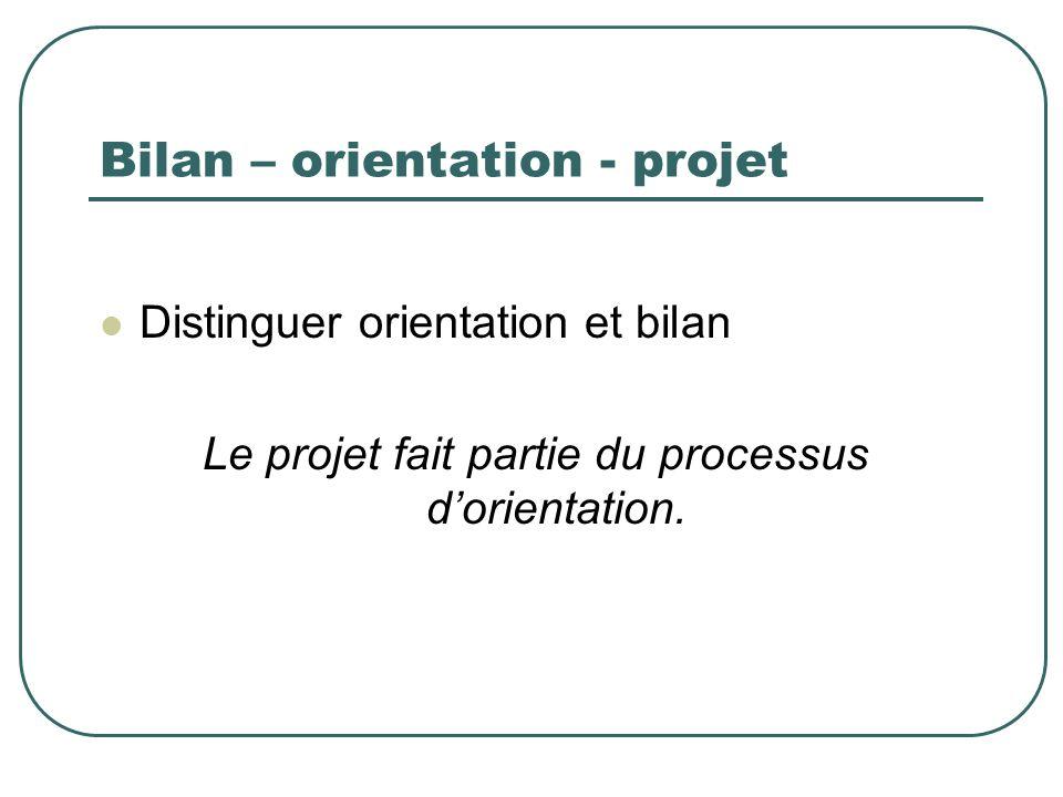Bilan – orientation - projet