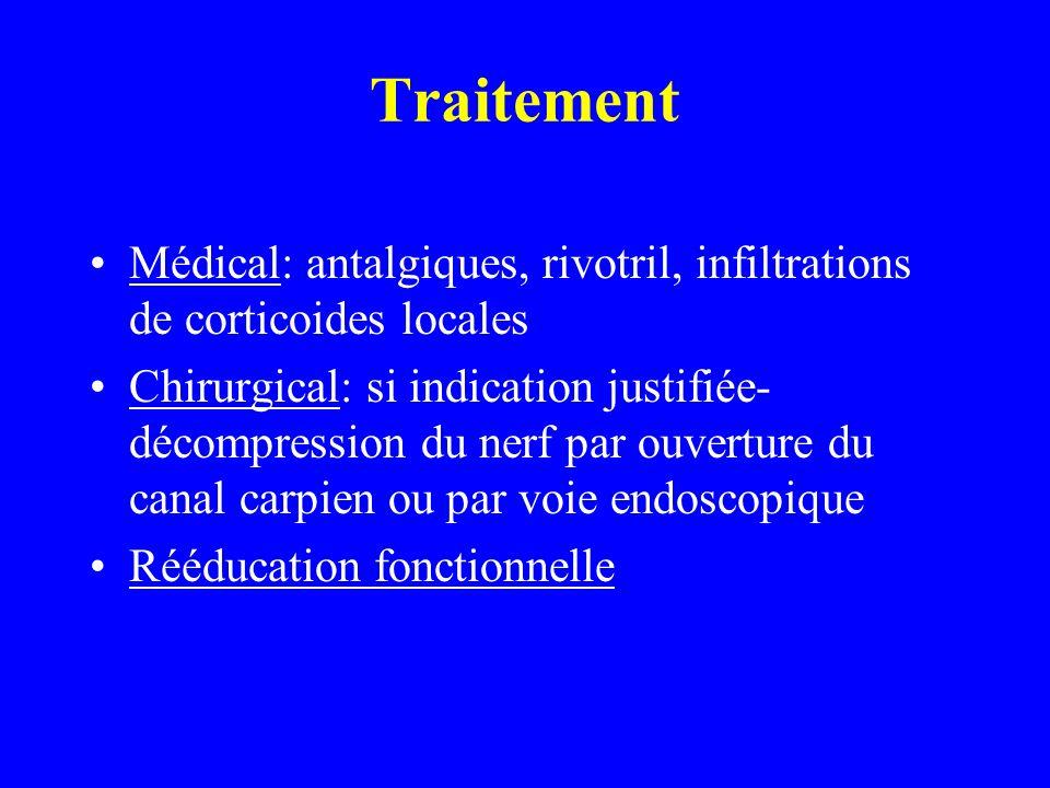 Traitement Médical: antalgiques, rivotril, infiltrations de corticoides locales.