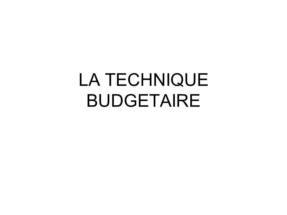 LA TECHNIQUE BUDGETAIRE