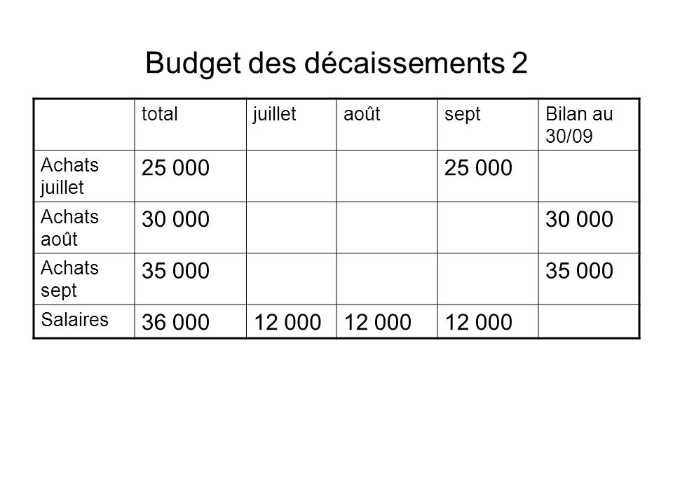 Budget des décaissements 2