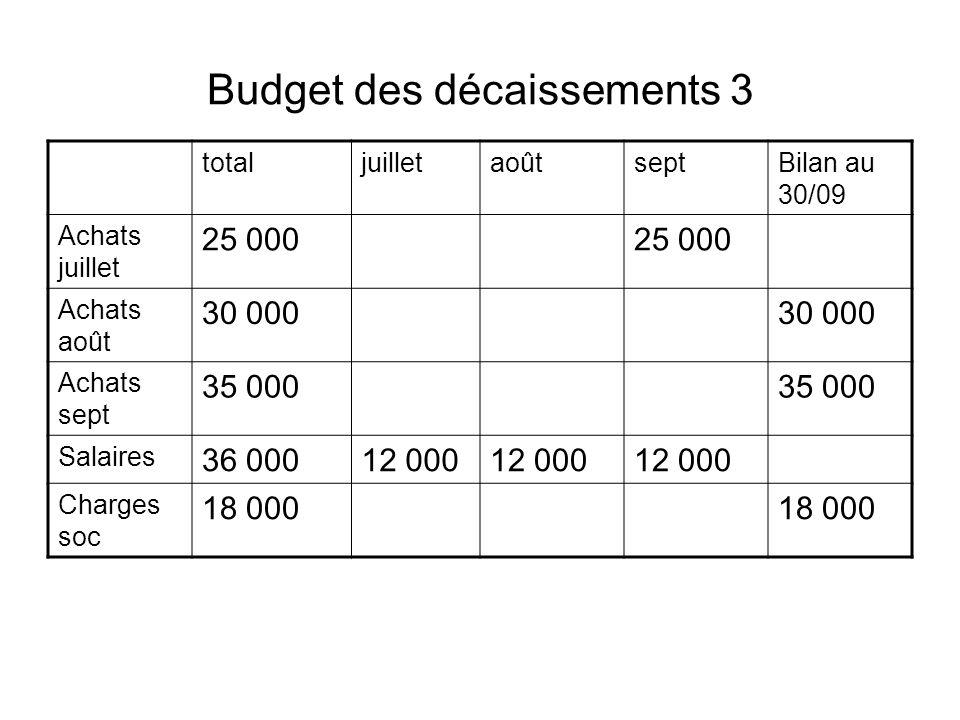 Budget des décaissements 3