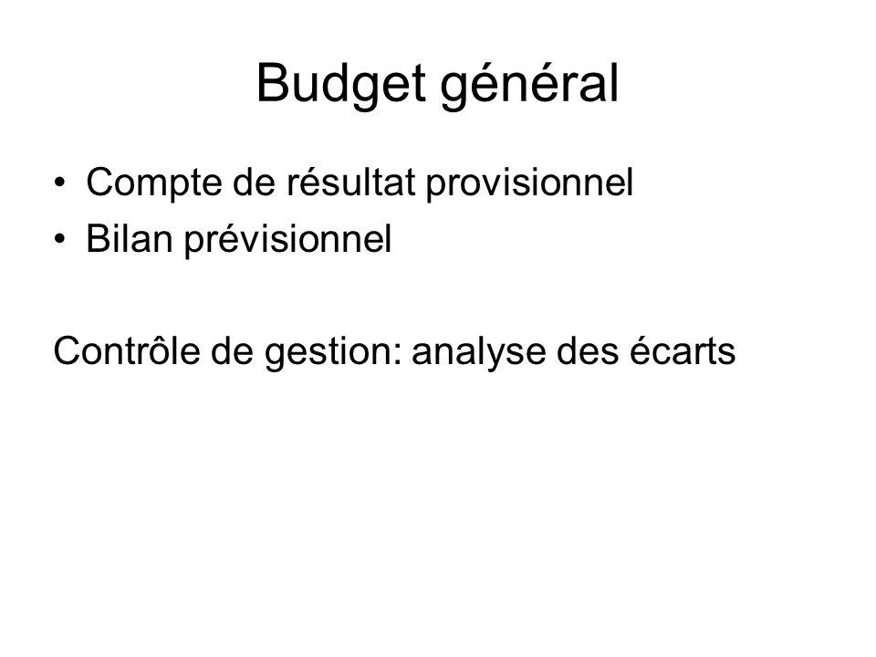Budget général Compte de résultat provisionnel Bilan prévisionnel