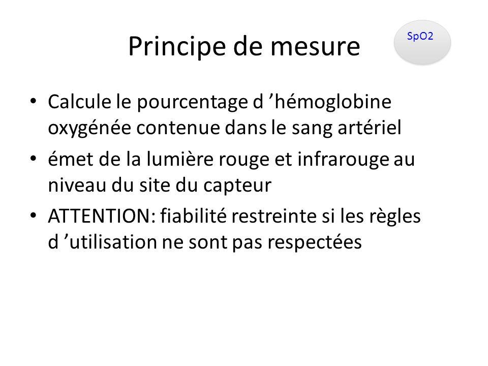 Principe de mesure SpO2. Calcule le pourcentage d 'hémoglobine oxygénée contenue dans le sang artériel.