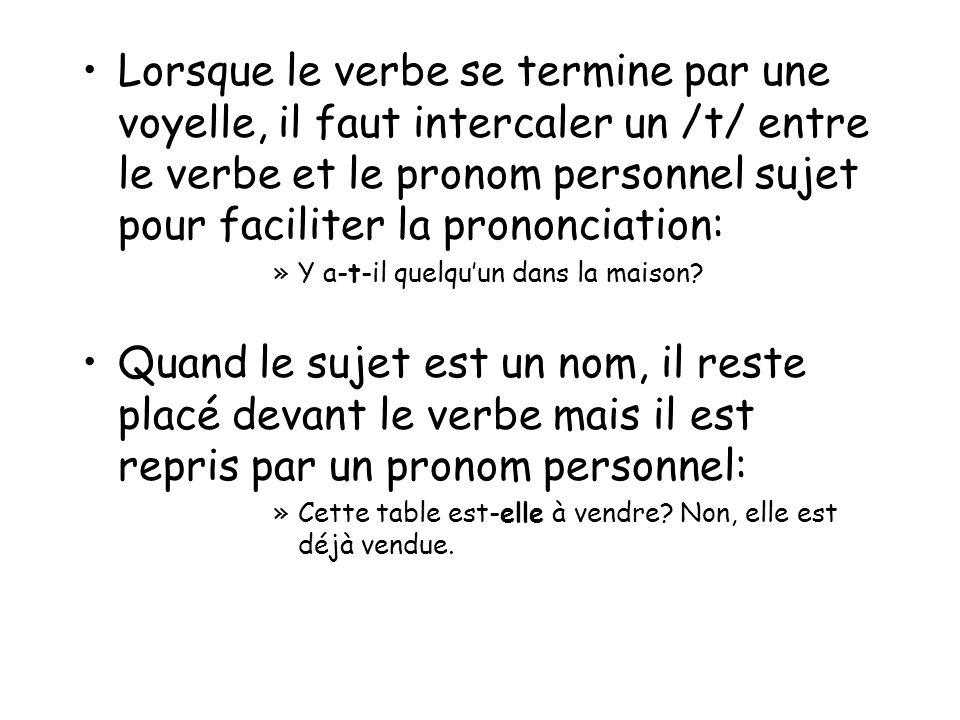Lorsque le verbe se termine par une voyelle, il faut intercaler un /t/ entre le verbe et le pronom personnel sujet pour faciliter la prononciation: