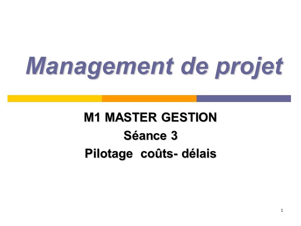 M1 MASTER GESTION Séance 3 Pilotage coûts- délais