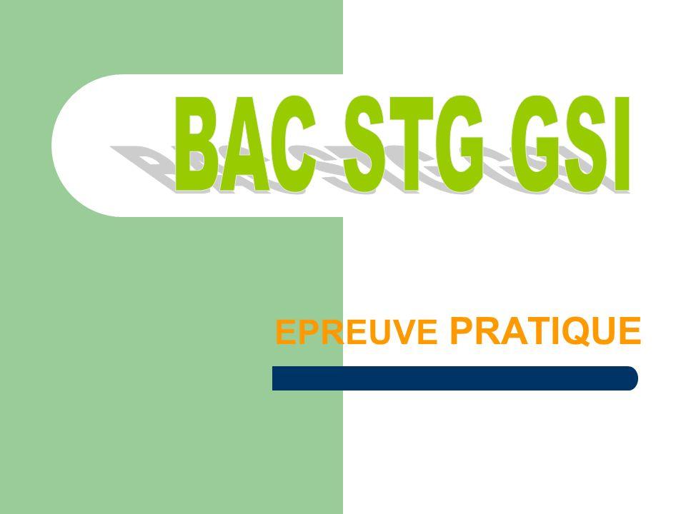 BAC STG GSI EPREUVE PRATIQUE